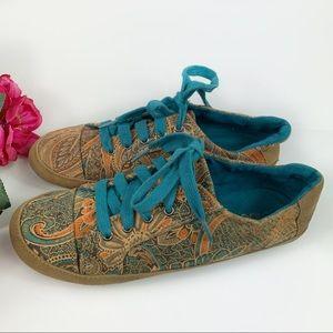 Cloud 9 Paisley Boho Teal Faux Suede Sneakers 8M